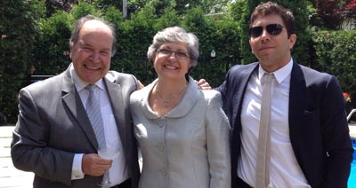 Houda with husband Jalal Moussallier (left) and son Aziz Moussallier (right)