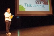 Helena Tse presents Ovarian Cancer: Knowledge is Power awareness program to fellow students.